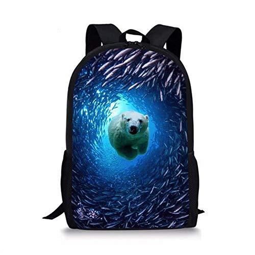 Mochila Escolar con Estampado 3D de Oso Polar Animal Divertido para niños, niñas, niños, Mochilas Escolares, Mochila Escolar para niños A