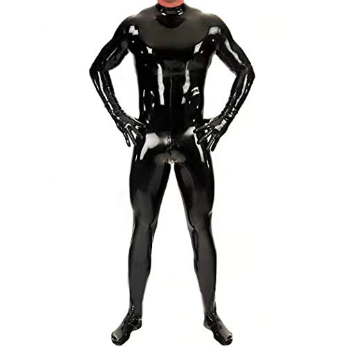 WYYSYNXB Men Black Mirror Body Sculpting Stereotype Latex All Inclusive Tight Jumpsuit Night Club Bar DS Stage Equipment,Black,L