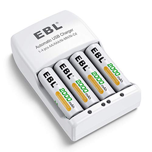 EBL Rechargeable AA Batteries 2000mAh 4 Pack and Rechargeable Battery Charger for NiMH/NiCD AA AAA Rechargeable Batteries