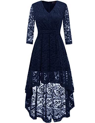 DRESSTELLS Abendkleider elegant Cocktailkleid Unregelmässig Spitzenkleid Vokuhila Floral Kleid Navy XL