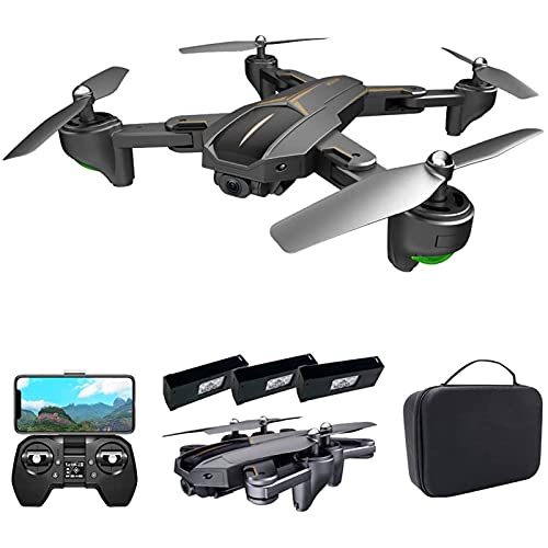 JJDSN GPS Drone for Adults, 5G WiFi Drone with 4K Camera, Optical Flow Positioning RC Quadcopter with Headless Mode, Altitude Hold, Follow Me, Auto Return,3 Batteries
