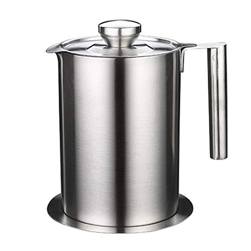 Oil Strainer Pot Grease Can, Stainless Steel Grease Container with Strainer, Multipurpose Oil Storage Can with Fine Mesh Strainer for Storing Frying Oil and Cooking Grease