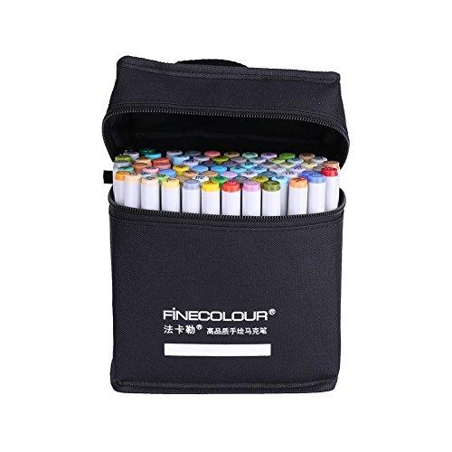 yosoo Aufbewahrungstasche Marker 24 Farben Doppelspitze Marker + schwarze Tasche Kunst / Animation / Design / Skizzen Marker
