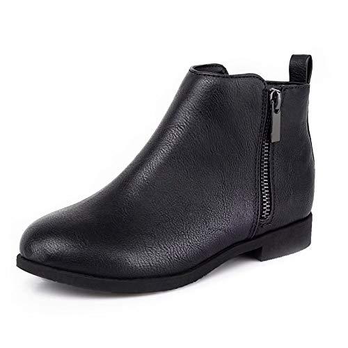 HARVEST LAND Mädchen Stiefeletten Kinder Reißverschluss Ankle Boots Flache Blockabsatz Slip-On Klassische Stiefel,EU37,Schwarz/PU