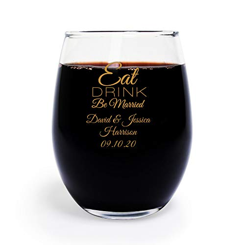 72 Pack Eat Drink Be Married 9 oz Wine Glass, Personalized Stemless Wine Glass, Gold, Wedding Favors, Bridal Shower Favors
