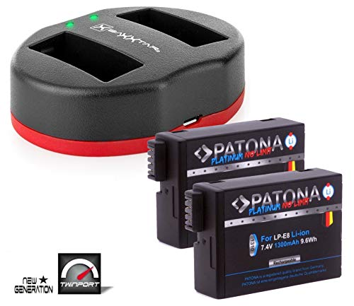 2X PATONA Platinum Ersatz für Akku Canon LP-E8 (1300mAh) mit Baxxtar Twin Port 1820 USB Dual Ladegerät - zu Canon EOS 550D 600D 650D 700D