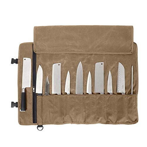 QEES Sacoche à Couteaux De Chef Professionnel 11 Compartiments Sac à Couteaux en Toile Cirée Etui à Couteaux Pour Camping Randonnée Travail Kaki