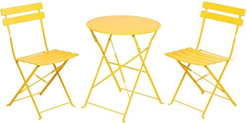 Aoboco Grand Patio ガーデンテーブル 3点セット折り畳み式テーブルと椅子、高級鋼レジャーベランダ テーブルセット、室外用テーブルテーブルチェアセット (マンゴーイエロー)