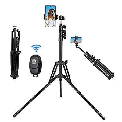 Selfie Stick Tripod, 63 inch Extendable Selfie Stick with Bluetooth Remote for iPhone & Android Phone, Camera, Gopro and More-Black by HAODU