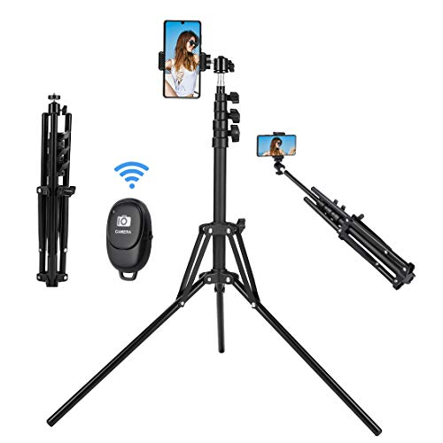 Selfie Stick Tripod, 63 inch Extendable Selfie Stick with Bluetooth Remote for iPhone & Android Phone, Camera, Gopro and More-Black