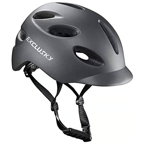 Exclusky - Casco de bicicleta para adultos con luz de seguridad USB recargable para Urban Commuter certificado CE (gris)