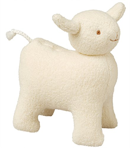 TROUSSELIER - Doudou Musical - Mouton - Tissu en Coton - Musique Lullaby de Brahms - 17 cm de haut - Classique Chic - Idéal Cadeau de Naissance - Lavable en Machine - Colori Ivoire