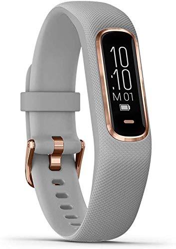 Garmin vivosmart 4, Activity and Fitness Tracker with Pulse Ox, Advanced Sleep Monitoring and Vibration Alerts, Rose Gold w/Gray Band (Renewed)
