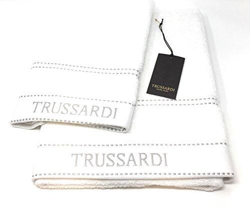 Trussardi Home Linen Coppia asciugamani 1+1 (1 cm 60x110 + 1 cm 40x60) art. Ribbon (white)