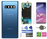 Galaxy S10 Back Cover Glass Housing Door Replacement with Camera Lens and Frame +Tape Parts for Samsung Galaxy S10 S 10 SM-G973F/DS +Screen Protector +Tool (Prism Blue)