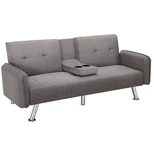 75 inch Wider Futon Sofa Bed,JULYFOX Fabric Sofa Sleeper Bed with Holder Armrest 600lb Heavy Duty for Small Spaces(Light Gray)