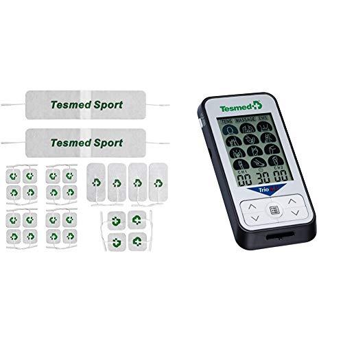TESMED 26 Elettrodi Top Equipment, La Gamma Migliore per Ottenere I Migliori Risultati & Tesmed Trio 6.5 Elettrostimolatore Muscolare, 36 Programmi, 40 Livelli di Intensita