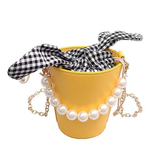 BEECM Women's Shoulder Bag Casual Elegant Lattice Coin Purse Pearl Bag Bow Decoration Considerate Design Lock Chain Messenger Bag