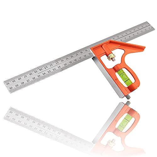 Kombinationswinkel 300mm der verstellbare Anschlagwinkel mit Wasserwaage, Anschlagwinkel geeignet für 90 Grad und 45 Grad Messungen Lineal Edelstahl, Anschlaglineal, Anreisswerkzeug Für Holz