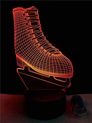 3D Night Light Novelty Ice Blade Hockey Skate Shoes 3D Led Lamp Acrylic Multicolor Changing Night Light Sporting Boy Room Decor Kids Toys Gift