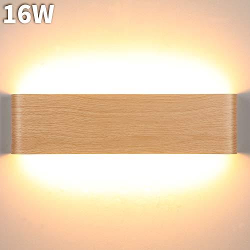 Lightess 16W LED Wandleuchte Holz Innen Wandlampe Modern Treppenhaus Beleuchtung Wand Flrulampe Wandbeleuchtung Warmweiss Up Down Licht Holzfarbe Rustikal Vintage 32cm