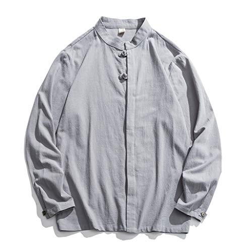 TYTUOO Herrenhemd Einfarbiges Hemd aus Baumwolle und Leinen mit Langen Ärmeln Stehkragen Tops Bluse