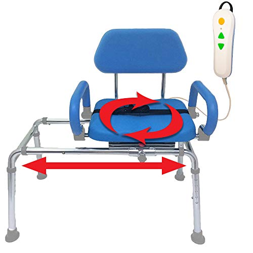 Carousel Sliding Transfer Bench with Swivel Seat. Premium Padded Bath and Shower Chair with Pivoting Arms-PowerSlide Model with Push-Button Electric Travel