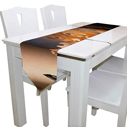 N/A Eettafel Runner Of Dresser Sjaal, Eekhoorn Zoek Voedsel Deck Tafelkleed Runner Koffie Mat voor Bruiloft Partij Banket Decoratie 13 x 90 inch