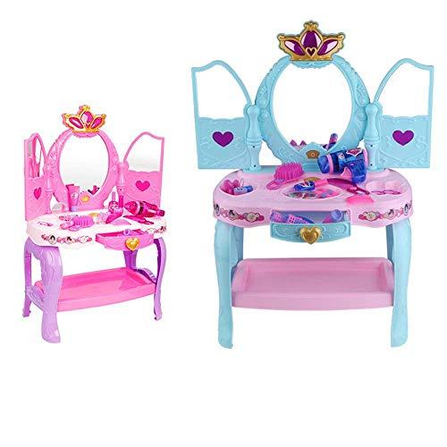 QINGJIA Conjunto de belleza Tocador Juguete Simulación Girl Threell Thream Thream Play Casa Juego Juego de juguete 3-6 años Ejecutivo Juguetes Educativos Azul y Pink Styling (Color: Azul, Tamaño: 31x7
