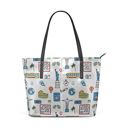 Mode Handtaschen Einkaufstasche Top Griff Umhängetaschen Collection Of Different American Objects Large Printed Shoulder Bags Handbag Pu Leather Top Handle Satchel Purse Work Tote Bag For Women Girls