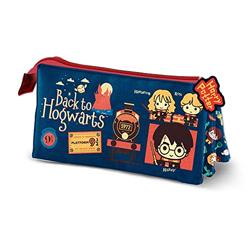 KARACTERMANIA Harry Potter Back-Estuche Portatodo Triple, Azul Oscuro