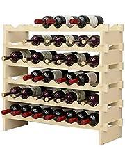 DlandHome Wijnrek met 6 niveaus voor 48 flessen wijnrek wijnrek flessenrek hout voor bar, keuken, 90 x 30 x 81 cm
