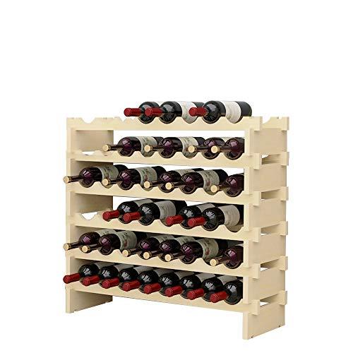 soges Weinregal Weinlagerung Weinständer Flaschenständer aus unbehandeltem Holz mit 6 Etagen für 48 Flaschen,Größe 90 * 30 * 81CM