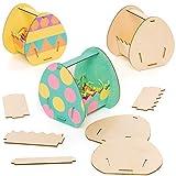 Baker Ross Kits de paniers œufs de Pâques en Bois(Paquet de 4)-Loisirs créatifs pour Enfants, AT444