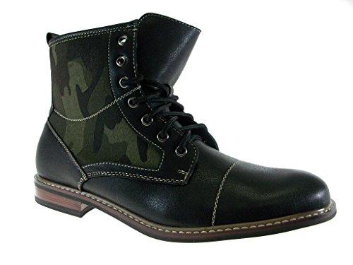 Ferro Aldo Men's 808562A Camo Design Military Combat Casual Dress Boots, Black, 8