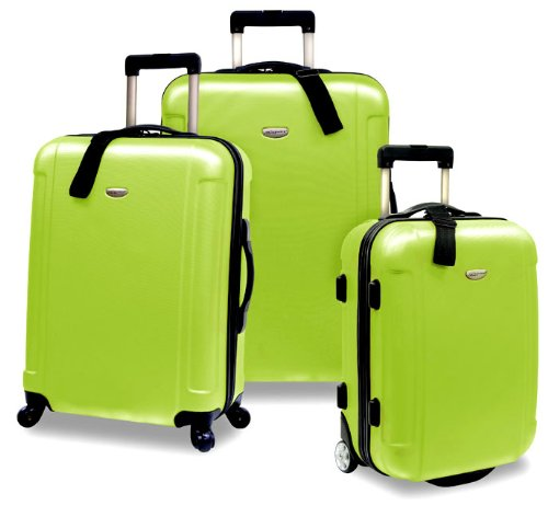 Traveler's Choice Freedom Lightweight Hardshell Rolling Luggage Set 3-Piece, Green
