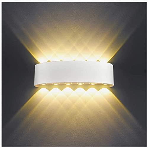 Lampada da Parete Interno Esterno 12W LED Applique da Parete Moderno in Alluminio, Up Down Faretto da Parete Impermeabile IP65, decorativa per Salotto Bagno Camera da letto Corridoio - Bianco Caldo