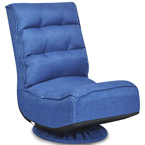 COSTWAY Bodenstuhl 360°drehbar, Bodensessel mit 5-Fach Verstellbarer Rückenlehne, Game Sessel gepolstert, Bodensofa Meditationsstuhl bis 150kg belastbar, Lazy Sofa (Blau)
