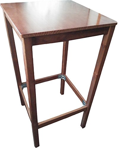 Tavolo bar alto. 114cm altezza con piano di 59x 59cm. Colore: noce