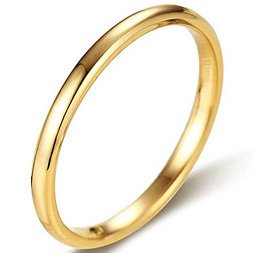 Jude Jewelers 2MM Tungsten Carbide Stackable Ring Plain Wedding Band (Gold, 6)