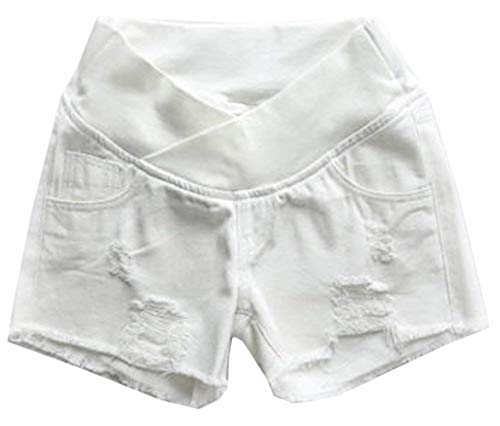 Huixin Mode Dame Kurze Jeanshosen Umstandshose Mit Umstandsshorts Bauchband Slim Fit Elegant Jeans Umstandsshorts Umstandshose Mit Bauchband Für Sommer (Color : Weiß, Size : XL)