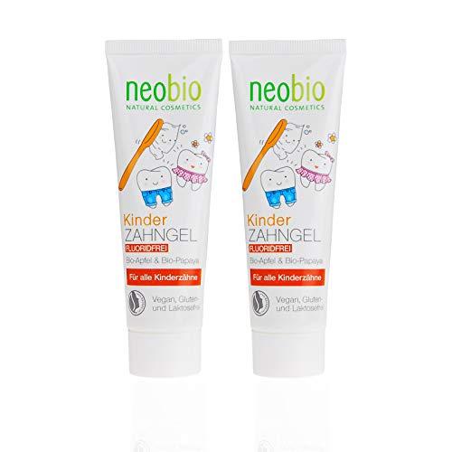 NEOBIO Kinder Zahngel (2x50ml), Fluoridfrei, mit Bio-Apfel und Bio-Papaya, Bio Zahnpasta, Vegan, Naturkosmetik