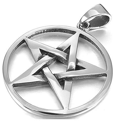 ZYCX123 Collar Colgante de Acero Inoxidable(Plata) Tono de los Hombres de la Estrella del pentáculo Pentagram-con Cadena de 23 Pulgadas