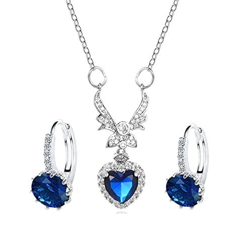 SIMIN Conjunto de joyas para mujer, Conjunto de Collar Pendientes con Circonitas incluye bolsa de joyería, regalo para mujer y niña