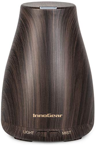 InnoGear Essential Oil Diffuser, Upgraded Diffusers for Essential Oils Aromatherapy Diffuser Cool Mist Humidifier with Adjustable Mist Mode Waterless Auto Shut-off for Home Office Baby, Dark
