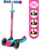 GOMO 3 Wheel Scooter - Toddler Scooter - Three Wheel Scooter for Kids 2, 3, 4 and 5 Years Old – Adjustable Height Kick Scooter w/Colors for Boys & Girls (Teal/Pink)