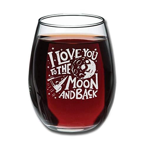 Copa de vino belga con grabado personalizable con texto 'I Love You to The Moon and Back', perfecta para esposa, mujeres, amigas, compañeros de trabajo, aniversario, pareja para color blanco, 350 ml