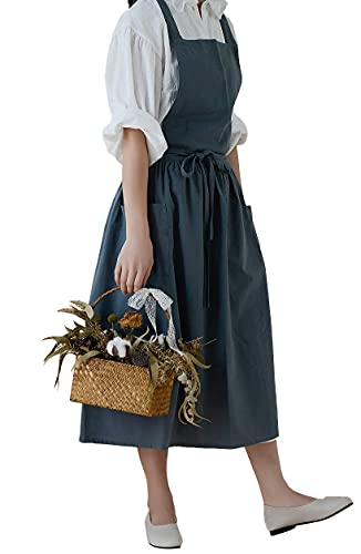 Cotton Pleated Apron Retro Waterdrop Proof Garden Cleaning Pinafore Dress (green, 103cmx86cm)