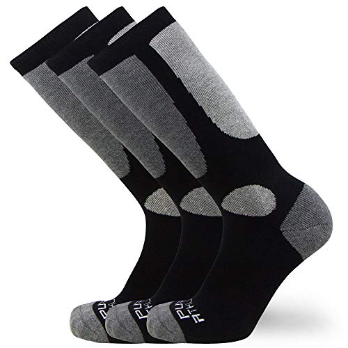 Kids Value Ski Socks for Boys, Girls – Snowboarding, Winter, Cold Weather (3 Pairs - Black, S/M)