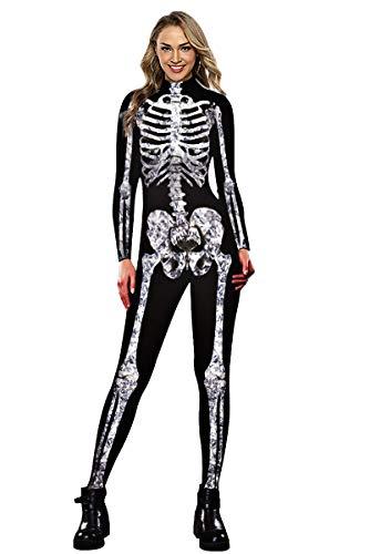 Neusky Halloween Women's Skeleton Costume (Black/White, XL)